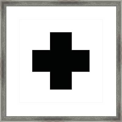 Minimalist Swiss Cross Pattern - Black On White Framed Print