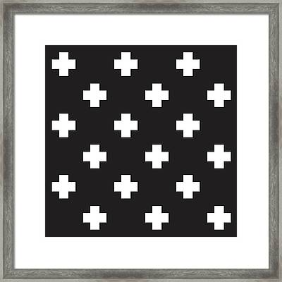 Minimalist Swiss Cross Pattern - Black, White 01 Framed Print