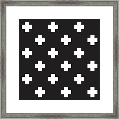 Minimalist Swiss Cross Pattern - Black, White 01 Framed Print