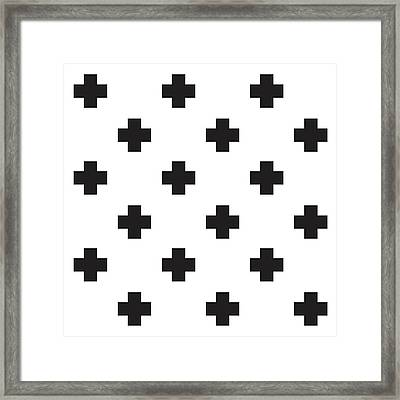 Minimalist Swiss Cross Pattern - Black, White 02 Framed Print