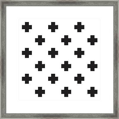 Minimalist Swiss Cross Pattern - Black, White 02 Framed Print