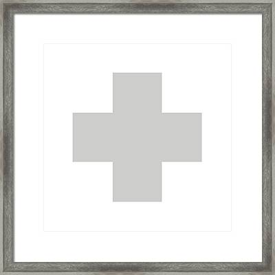 Minimalist Swiss Cross Pattern - Grey On White Framed Print