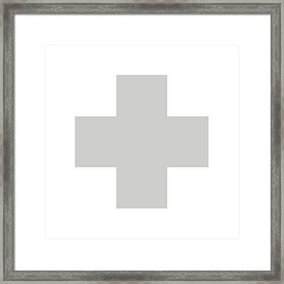 Minimalist Swiss Cross Pattern - Grey On White Framed Print