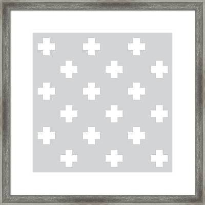 Minimalist Swiss Cross Pattern - Grey, White 01 Framed Print