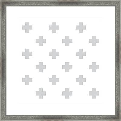 Minimalist Swiss Cross Pattern - Grey, White 02 Framed Print