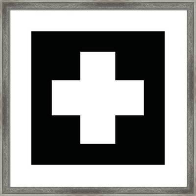 Minimalist Swiss Cross Pattern - White On Black Framed Print