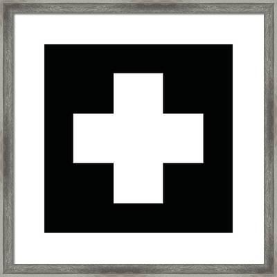 Minimalist Swiss Cross Pattern - White On Black Framed Print