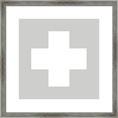 Minimalist Swiss Cross Pattern - White On Gray Framed Print