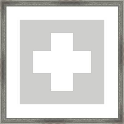 Minimalist Swiss Cross Pattern - White On Gray Framed Print