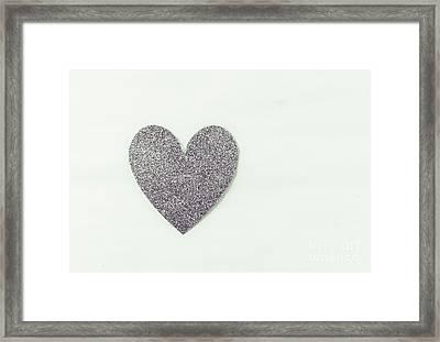 Minimalistic Silver Glitter Heart Framed Print
