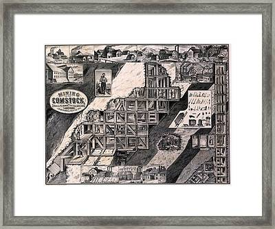Mining On The Comstock, Cutaway Framed Print by Everett