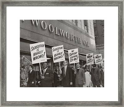 Ministers Picket F.w. Woolworth Store Framed Print