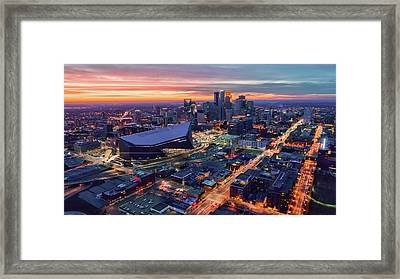 Minneapolis And Us Bank Stadium At Dusk Framed Print
