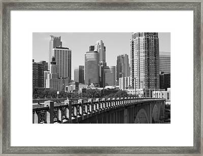 Minneapolis Black And White Framed Print