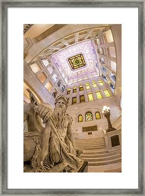 Minneapolis City Hall Rotunda, Father Of Waters Framed Print by Jim Hughes