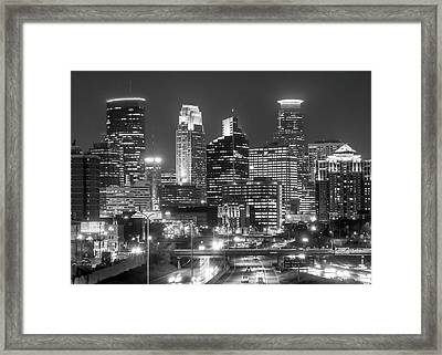 Framed Print featuring the photograph Minneapolis City Skyline At Night by Jim Hughes