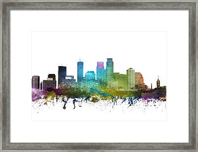 Minneapolis Cityscape 01 Framed Print by Aged Pixel