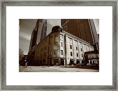 Framed Print featuring the photograph Minneapolis Downtown Sepia by Frank Romeo