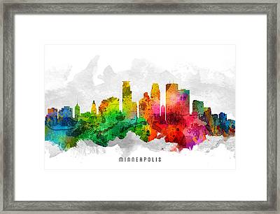 Minneapolis Minnesota Cityscape 12 Framed Print by Aged Pixel