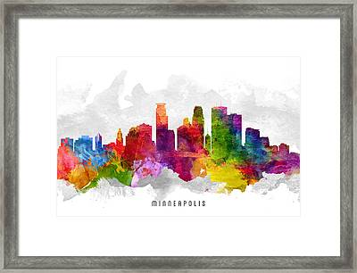 Minneapolis Minnesota Cityscape 13 Framed Print by Aged Pixel