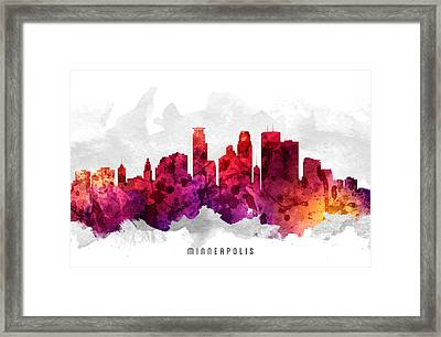 Minneapolis Minnesota Cityscape 14 Framed Print by Aged Pixel
