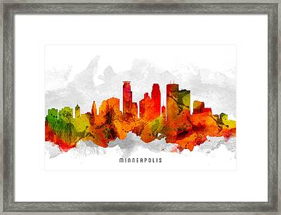 Minneapolis Minnesota Cityscape 15 Framed Print by Aged Pixel