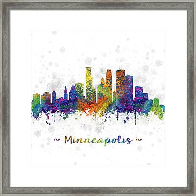 Minneapolis Minnesota Color 03sq Framed Print by Aged Pixel