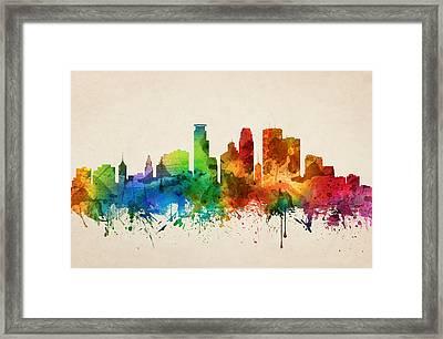 Minneapolis Minnesota Skyline 05 Framed Print by Aged Pixel