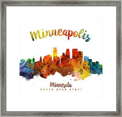 Minneapolis Minnesota Skyline 26 Framed Print by Aged Pixel