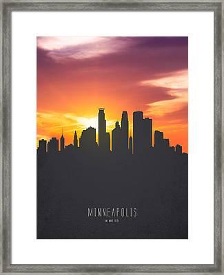 Minneapolis Minnesota Sunset Skyline 01 Framed Print by Aged Pixel