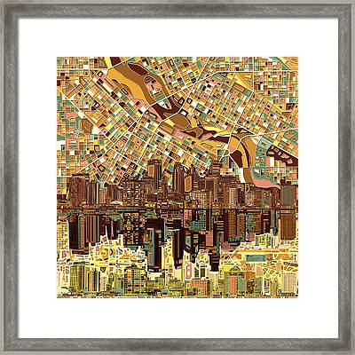 Minneapolis Skyline Abstract 8 Framed Print