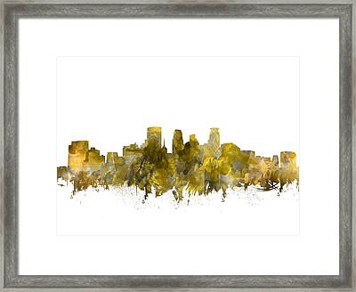 Minneapolis Skyline Abstract Sepia Framed Print