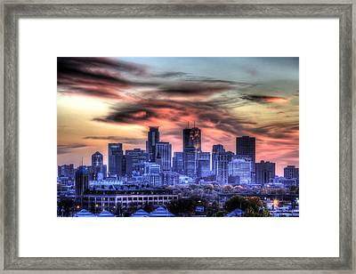 Framed Print featuring the photograph Minneapolis Skyline Autumn Sunset by Shawn Everhart