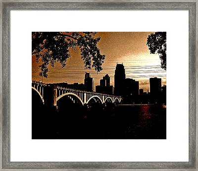 Minneapolis Skyline In Copper Framed Print by Tom Reynen