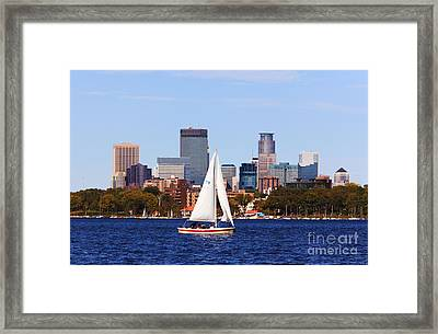 Minneapolis Skyline Lake Calhoun Sailing Framed Print