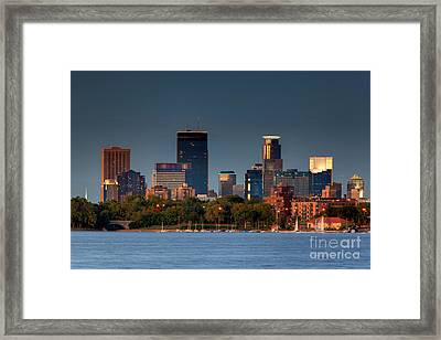 Minneapolis Skyline Photography Lake Calhoun Summer Evening Framed Print