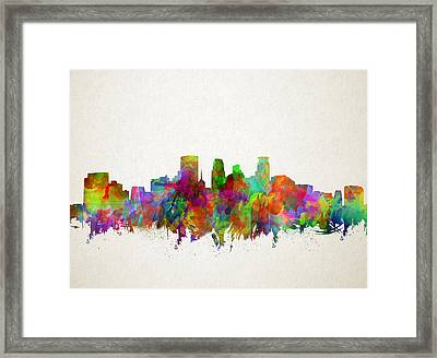 Minneapolis Skyline Watercolor 2 Framed Print