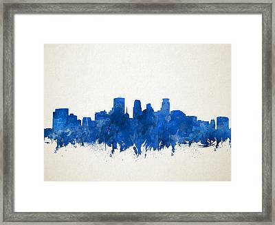 Minneapolis Skyline Watercolor Blue Framed Print