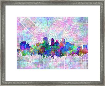 Minneapolis Skyline Watercolor Framed Print