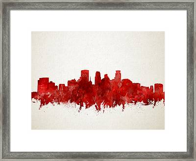 Minneapolis Skyline Watercolor Red Framed Print