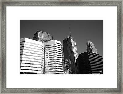 Framed Print featuring the photograph Minneapolis Skyscrapers Bw 5 by Frank Romeo