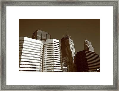Framed Print featuring the photograph Minneapolis Skyscrapers 5 Sepia by Frank Romeo