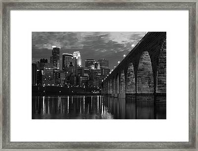 Minneapolis Stone Arch Bridge Bw Framed Print