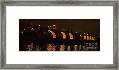 Minneapolis Stone Bridge At Night Framed Print by Natural Focal Point Photography