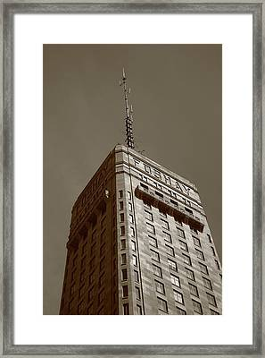 Framed Print featuring the photograph Minneapolis Tower 6 Sepia by Frank Romeo
