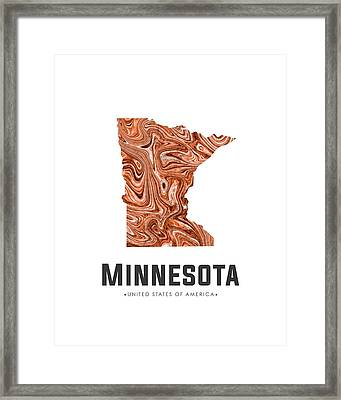 Minnesota Map Art Abstract In Brown Framed Print