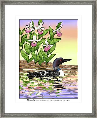 Minnesota State Bird Loon And Flower Ladyslipper Framed Print