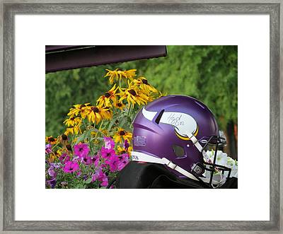 Minnesota Vikings Helmet Framed Print by Kyle West