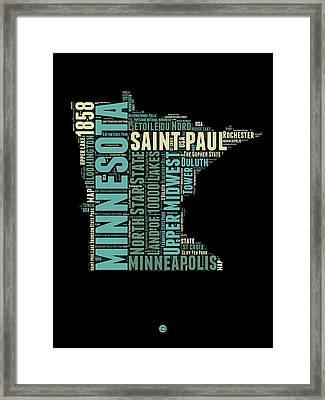 Minnesota Word Cloud Map 1 Framed Print by Naxart Studio