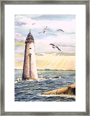 Framed Print featuring the painting Minot Lighthouse Or The I Love You Lighthouse by Martha Ayotte